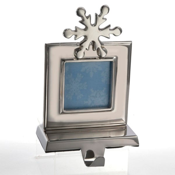 """8"""" Silver Snowflake Photo Picture Frame Christmas Stocking Holder"""
