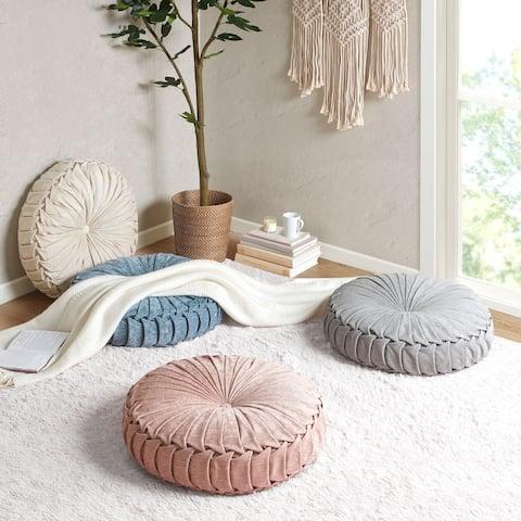 Lara Poly Chenille Round Floor Pillow Cushion by Intelligent Design