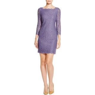 Adrianna Papell Womens Cocktail Dress Lace 3/4 Sleeves