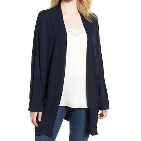 Chelsea28 Womens Sweater Blue Size Large L Cardigan Cuffed Flyaway