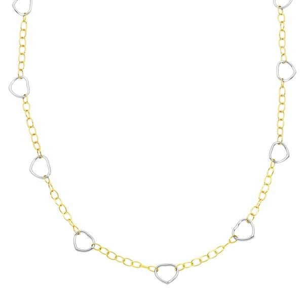 Eternity Gold Open Heart Link Necklace in 14K Two-Tone Gold