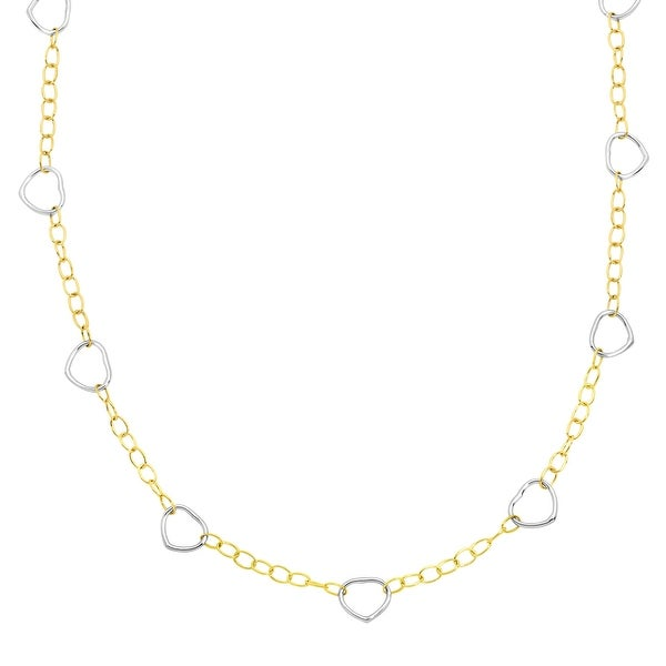 Just Gold Open Heart Link Necklace in 14K Two-Tone Gold
