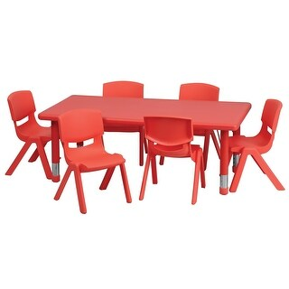 Offex 24''W x 48''L Adjustable Rectangular Red Plastic Activity Table Set with 6 School Stack Chairs
