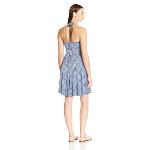 Skye Women's Demi Bandeau Dress Cover Up with Cascading Front, Blue, Size Medium