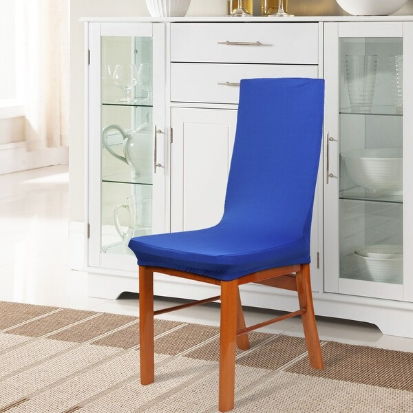 blue dining room chair covers | Shop Unique Bargains Spandex Stretch Blue Dining Chair ...