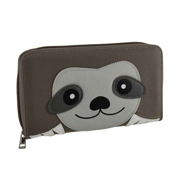 Soft Sloth Animal Face Zip Around Wallet