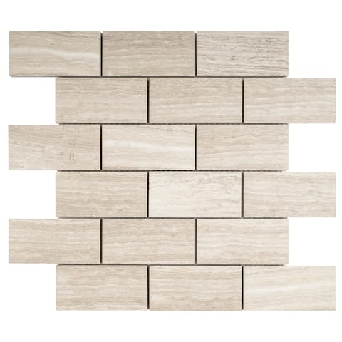 "TileGen. Rectangle 2""x4"" Marble Subway Tile in Wooden Beige Floor and Wall Tile (10 sheets/9.6sqft.)"