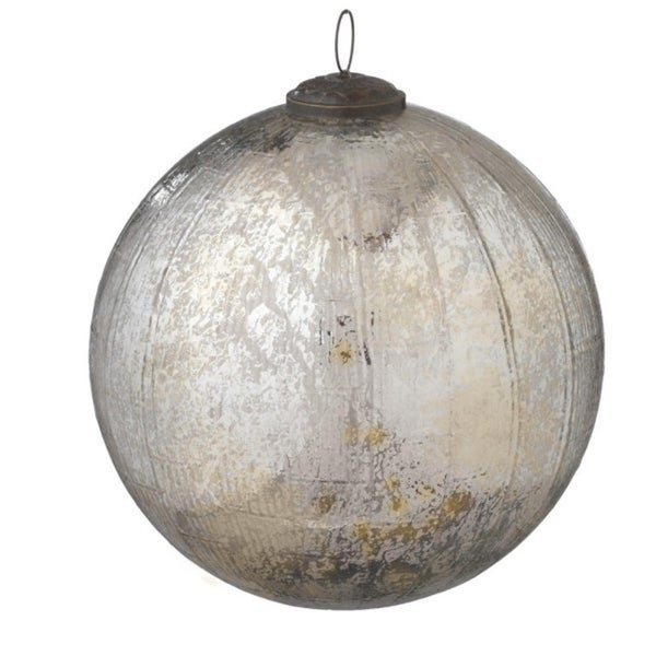 "10"" Antique-Style Large Shiny Silver Textured Glass Ball Kugel Ornament"
