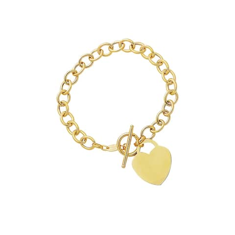 Mcs Jewelry Inc 14 KARAT YELLOW GOLD HEART DANGLE CHARM BRACELET (7.5 INCHES)