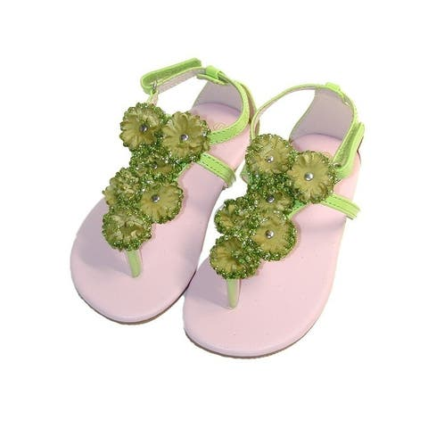Girls Lime Flower Array T-Strap Summer Sandals