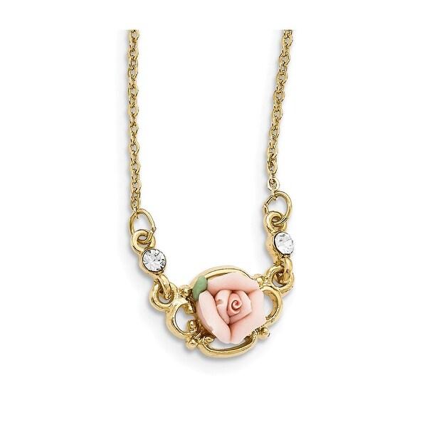 Goldtone Pink Porcelain Rose & Crystal Necklace - 16in