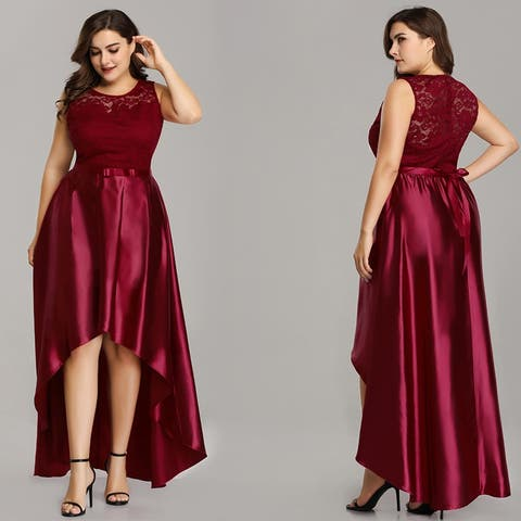 Ever-Pretty Womens Plus Size High-Low Lace Evening Cocktail Party Dress 07702