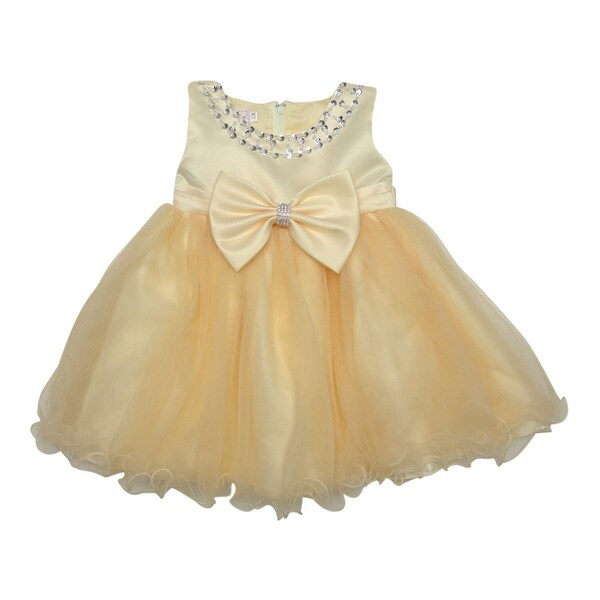 Baby Girls Champagne Bejeweled Neckline Bow Accent Flower Girl Dress