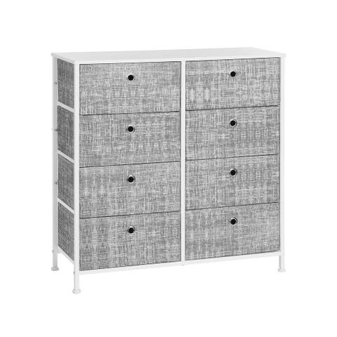 Gray & White Dresser with 8 Fabric Drawers
