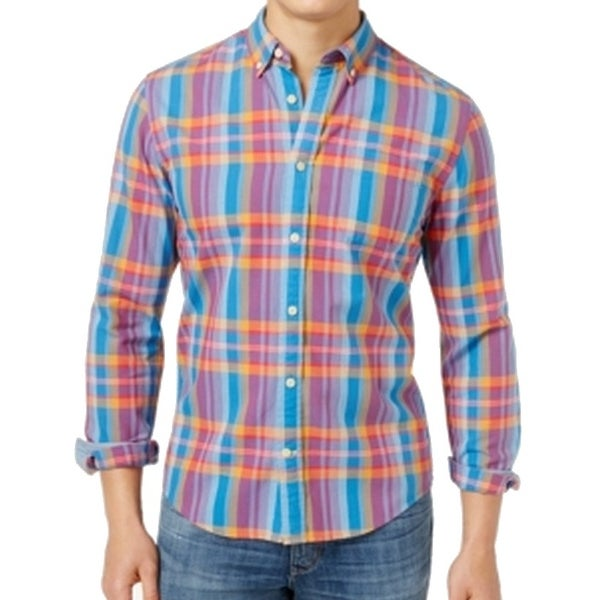 abc96e69 Shop Tommy Hilfiger NEW Blue Men Size 2XL Button Down Plaid Custom Fit Shirt  - Free Shipping On Orders Over $45 - Overstock - 20932501