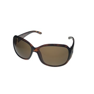 Ellen Tracy Womens Sunglass ET544 1 Tortoise Rectangle Plastic, Brown Lens - Medium