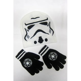Star Wars Stormtrooper White Beanie Ski Skate Hipster Cap w/gloves Winter