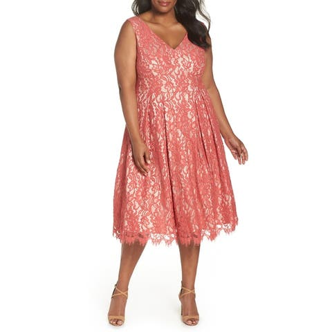 Eliza J Pink Women's Size 16W Plus Floral Lace Sheath Dress