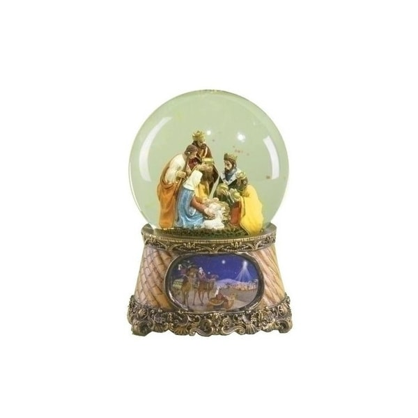 "6"" Musical Three Kings Nativity Scene Religious Christmas Glitterdome - multi"