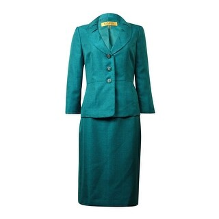 Kasper Women's Pleated Shawl Sheen Skirt Suit - peacock (2 options available)