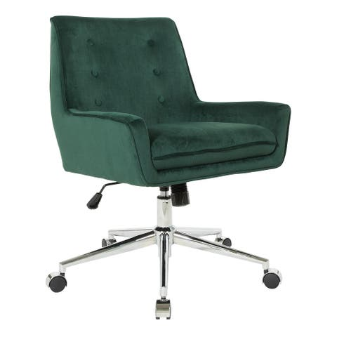 OSP Home Furnishings Quinn Office Chair with Faux Velvet