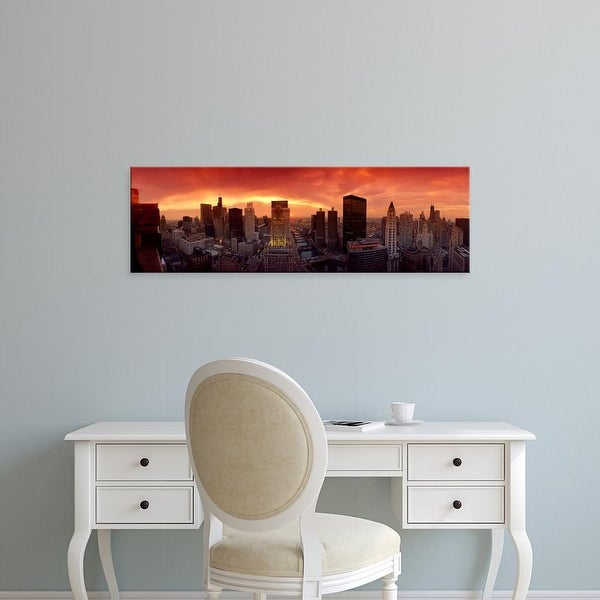 Easy Art Prints Panoramic Images's 'Sunset cityscape Chicago IL USA' Premium Canvas Art