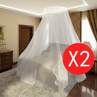 "vidaXL 2 pcs Mosquito Net Bed Set Round 1' 10"" x 10' 8"" 7' 6"""