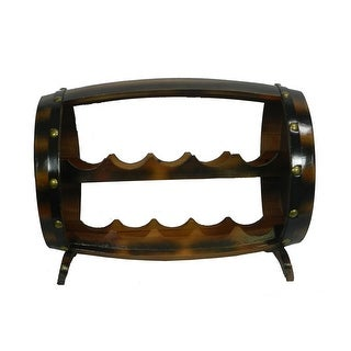 Wood and Metal Barrel Shaped 10 Bottle Wine Rack - 15 X 20 X 12.5 inches