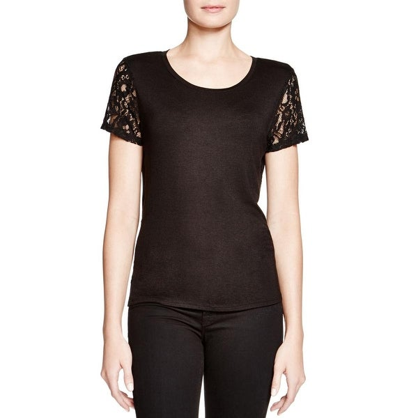 Generation Love Womens Pullover Top Lace Inset Short Sleeves
