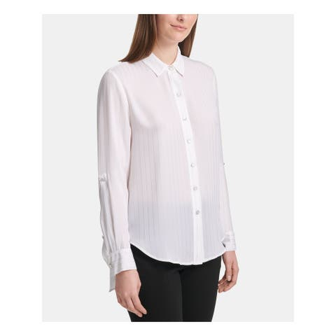 DKNY White Long Sleeve Button Up Top XL