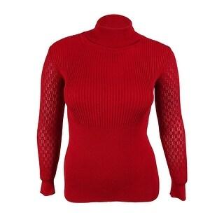 XOXO Juniors' Long Pointelle Sleeves Turtleneck Sweater - xL