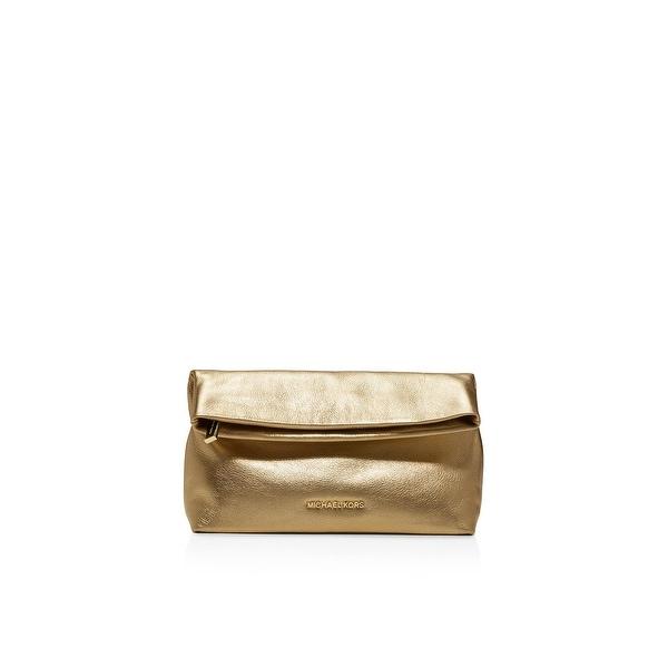 8f717dbe9e85 Michael Kors Womens Daria Clutch Handbag Leather Metallic - Medium