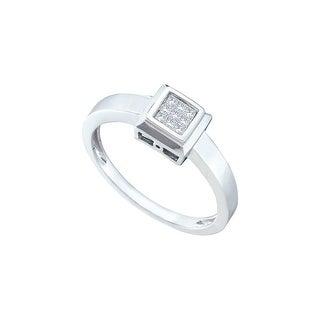 1/10Ctw Diamond Invisible Ring White-Gold 14K