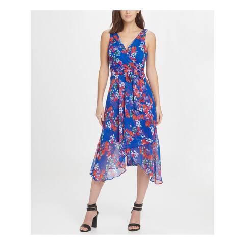 DKNY Blue Sleeveless Short Fit + Flare Dress Size 10