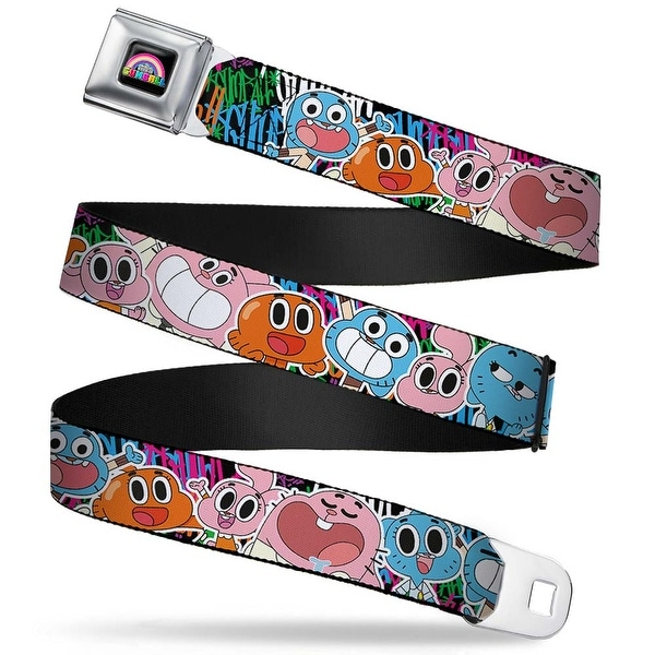Gumball Face Close Up Black Full Color The Watersons Family Poses Collage Seatbelt Belt
