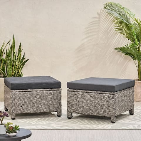 Puerta Outdoor Wicker Outdoor Ottoman with Cushion by Christopher Knight Home