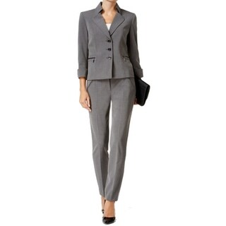 Tahari By ASL NEW Gray Women's Size 6 Zipped-Pockets Pant Suit Set