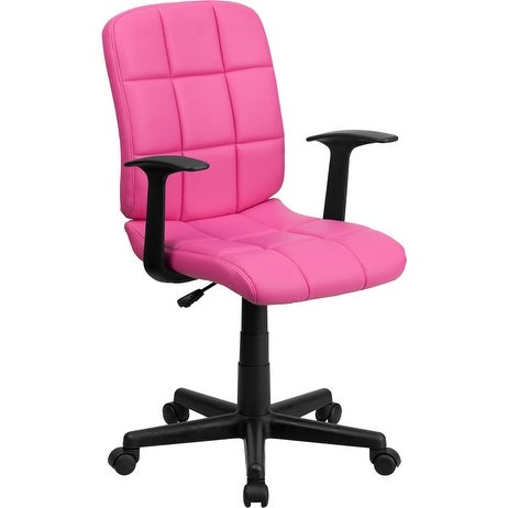 Alexandria Bay Mid-Back Pink Quilted Vinyl Swivel Home/Office Task Chair w/Arms