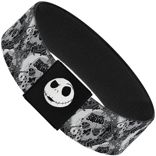 "Nightmare Before Christmas Jack Expressions Stripe White Black Elastic Elastic Bracelet 1.0"" Wide"