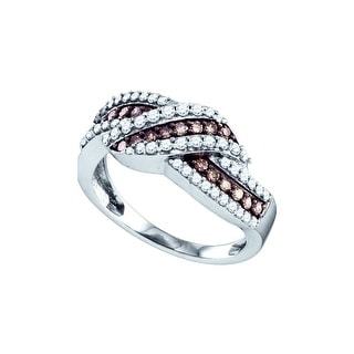 10k White Gold Cognac-brown Colored Diamond Crossover Fine Cocktail Fashion Band Ring 3/4 Cttw - Brown