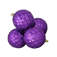 4ct Shiny Purple Diamond Shatterproof Christmas Ball Ornaments 3.75""