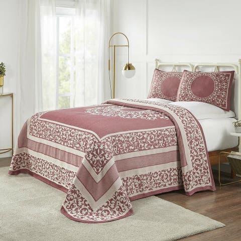 Jacquard Cotton Blend Mandala Bedspread Set King Berry Red