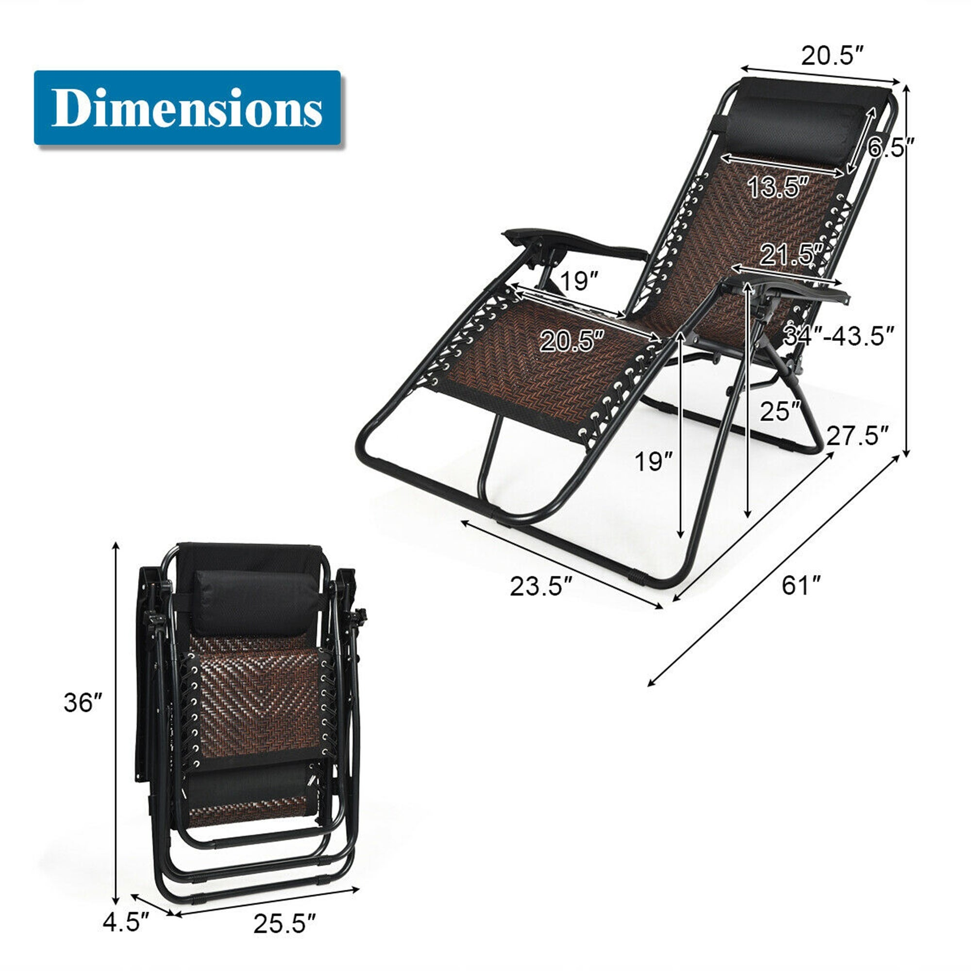 Gymax Folding Rattan Patio Zero Gravity Lounge Chair Recliner w/   See  details