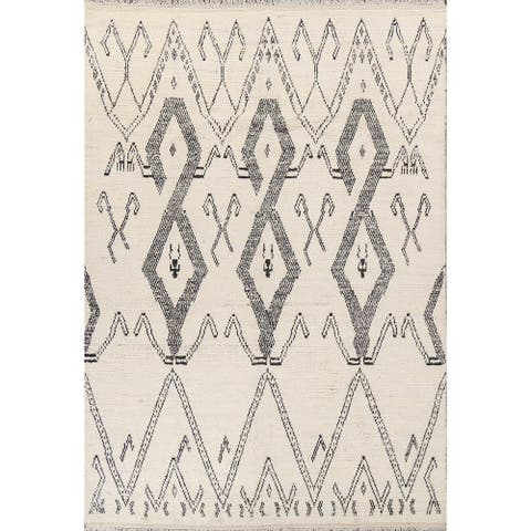 """Tribal Geometric Moroccan Oriental Area Rug Hand-knotted Wool Carpet - 7'11"""" x 10'7"""""""