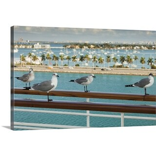 """""""Biscayne Bay seen from cruise ship's deck"""" Canvas Wall Art"""