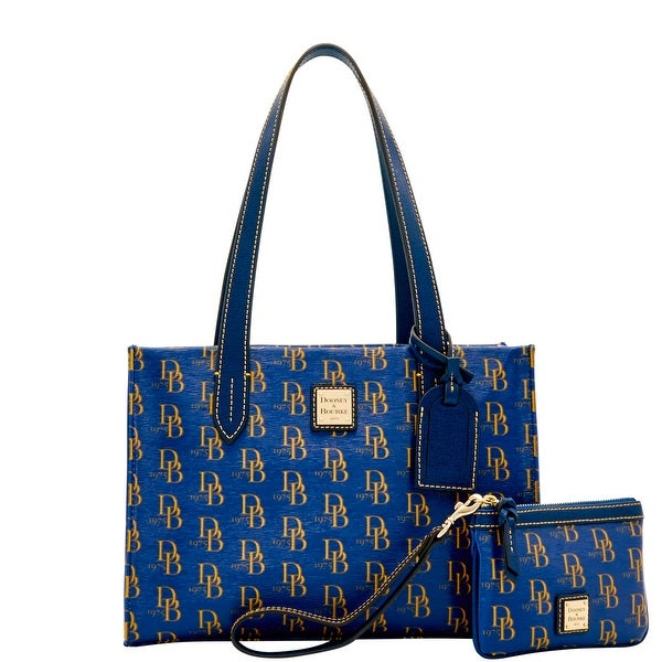 Dooney & Bourke 1975 DB Signature Sm Shopper & Med Wristlet (Introduced by Dooney & Bourke at $228 in Feb 2017) - Marine