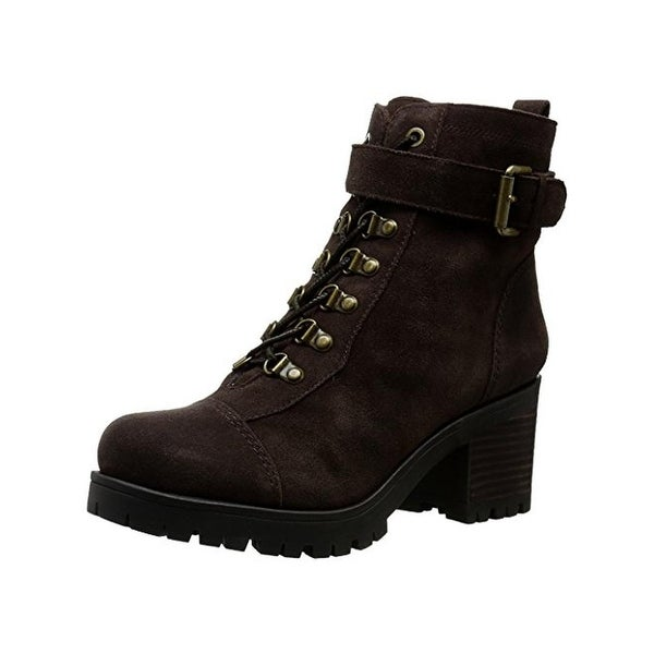 Nine West Womens Ursala Combat Boots Suede Belted