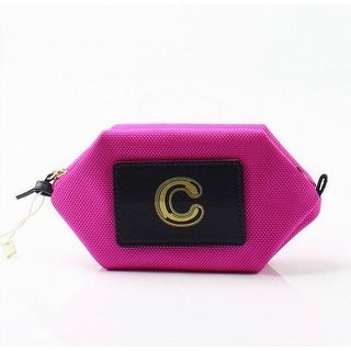 "Boulevard NEW Bright Pink Monogram ""C"" Nylon Zip Bubble Cosmetic Pouch-"