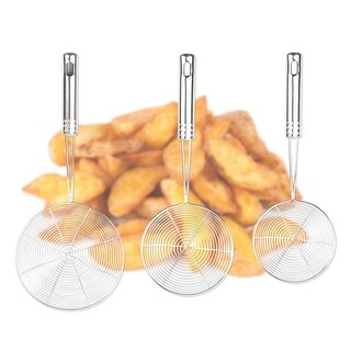 """Mesh Net Strainer Ladle Stainless Steel Wire Skimmer Spoon, Set of 3 (4.7 """",5.5 """",6 """")"""