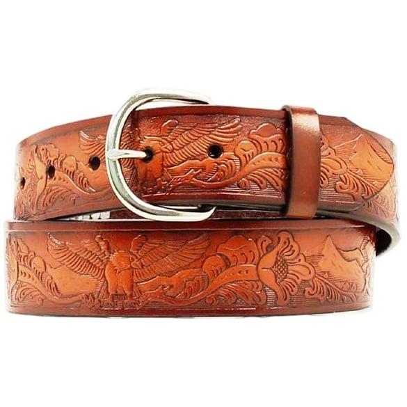 Nocona Western Belt Mens Leather Tooled Eagle Aged Bark